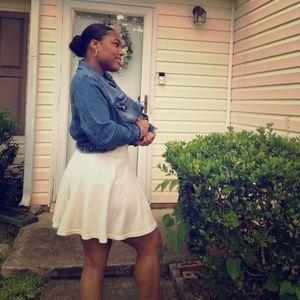 Cream Ribbed Mini Circle Skirt